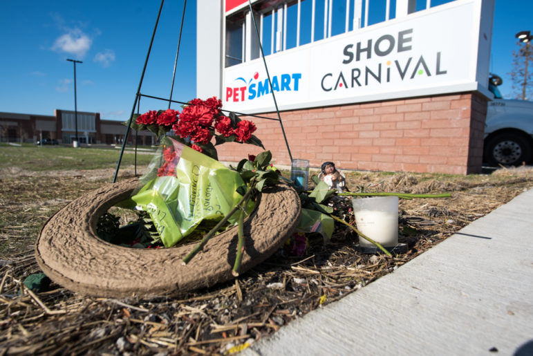 One of two small memorials for Laquan McDonald seen near Pulaski Road and 41st Street, the spot where the 17-year-old was fatally shot by Chicago police officer Jason Van Dyke.