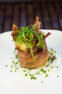 Knife bacon-wrapped potato