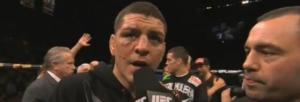 Nick Diaz with Joe Rogan at UFC 143