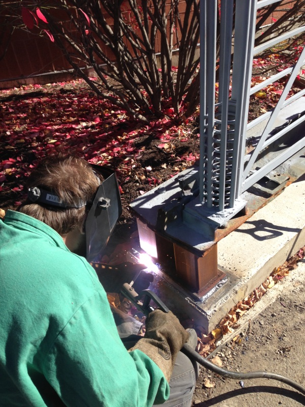 Student Welding trellis footing