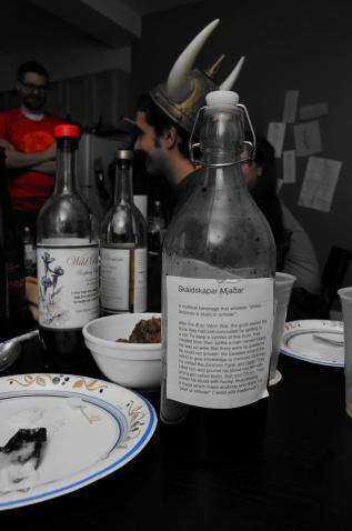 "Nick's ""Meade of poetry"": homemade beet amaro with honey meade"