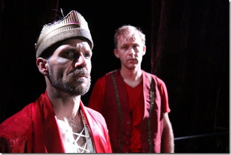 """Michael Sherwin as King Henry and Dennis Grimes as Prince Hal in Oak Park Festival Theatre's summer 2011 production of """"The History of King Henry the Fourth."""" Photo by Johnny Knight."""