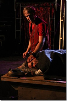 """Dennis Grimes as Prince Hal and Michael Sherwin as King Henry in Oak Park Festival Theatre's summer 2011 production of """"The History of King Henry the Fourth."""" Photo by Johnny Knight."""