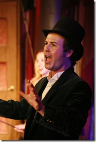 """P.T. Barnum (Jason Bowen) has 'joined the circus' in Quest Theatre Ensemble's """"Barnum"""", directed by Andrew Park. (photo credit: Braxton Black)"""