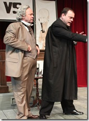 """Brad Armacost and Michael Downey, in a scene from Provision Theater's """"Shaw vs. Chesterton"""", adapted and directed by Timothy Gregory. (photo credit: Megan Gallagher)"""