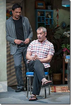 """Jimmy Smits and Gary Perez star in Steppenwolf Theatre's """"The Motherf**ker with the Hat"""" by Stephen Adly Guirgis, directed by Anna D. Shapiro. (photo credit: Michael Brosilow)"""