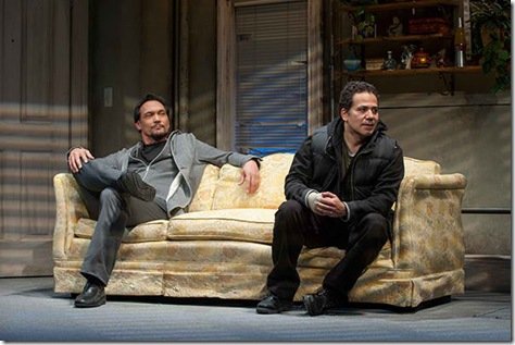 """Jimmy Smits and John Ortiz Steppenwolf Theatre's """"The Motherf**ker with the Hat"""" by Stephen Adly Guirgis, directed by Anna D. Shapiro. (photo credit: Michael Brosilow)"""