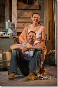 "Juan Francisco Villa and Sandra Delgado star in the world premiere of Victory Gardens Theater's ""Mojada"" by Luis Alfaro, directed by Chay Yew. (photo credit: Michael Brosilow)"