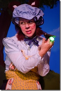 "Amanda Hartley stars as Mama Bear in Emerald City Theatre's ""The Teddy Bears' Picnic,"" written and directed by Ernie Nolan. (photo credit: Tom McGrath)"