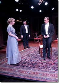 """Greg Matthew Anderson, Nick Sandys, Lia Mortensen, Roderick Peeples, Isabel Ellison, Luke Daigle and Maggie McCally star in Remy Bumppo Theatre's """"An Inspector Calls"""" by J.B. Priestly, directed by David Darlow. (photo credit: Johnny Knight)"""