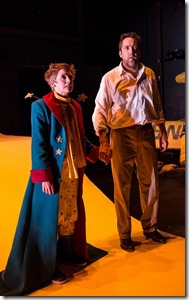 """Amelia Hefferon and Ian Barford star as the Prince and the Aviator in Lookingglass Theatre's """"The Little Prince"""" by Rick Cummins and John Scoullar, directed by David Catlin."""