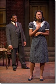 """Kelvin Roston Jr. and Ebony Wimbs star in Court Theatre's """"Seven Guitars"""" by August Wilson, directed by Ron OJ Parson. (photo credit: Michael Brosilow)"""