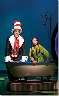 """Alex Goodrich and Emily Chang star in Chicago Shakespeare's """"Seussical"""" by Stephen Flaherty and Lynn Ahrens, directed by Scott Weinstein. (photo credit: Michael Brosilow)"""