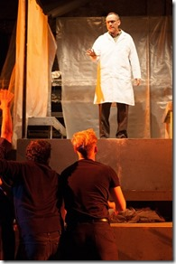 """Pavi Proczko, David Cady Jr., Gage Wallace, Jake Szczepaniak, Robert Oakes and Chris Carr star in Red Tape Theatre's """"Mnemonic"""" by Complicite, directed by Brandon Ray. (photo credit: Austin D. Oie)"""