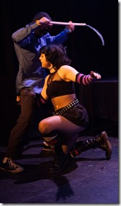 """Jean E. Burr stars in """"Hack/Slash,"""" adapted from the Tim Seeley comics series, directed by Brad Gunter. (co-produced by Strangeloop Theatre and Chemically Imbalanced Comedy, photo credit: Austin D. Oie)"""