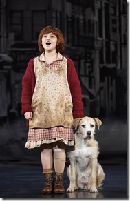 """Issie Swickle and Sunny star as Annie and Sandy in Broadway in Chicago's """"Annie the Musical"""" by Charles Strouse, Martin Charnin and Thomas Meehan. (photo credit: Joan Marcus)"""