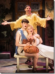 """Bill Larkin, Sarah Lynn Robinson and Miles Blim star in Porchlight Music Theatre's """"A Funny Thing Happened on the Way to the Forum"""" by Stephen Sondheim, directed by Michael Weber. (photo credit: Anthony La Penna)"""