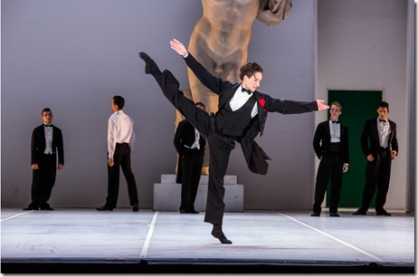 """The men of Joffrey Ballet Chicago's """"Sylvia,"""" choreographed by John Neumeier, music by Léo Delibes. (photo credit: Cheryl Mann)"""