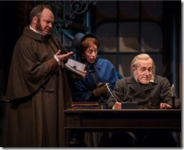"""Bret Tuomi, Theo Allyn and Larry Yando in Goodman Theatre's """"A Christmas Carol"""" by Charles Dickens, adapted by Tom Creamer, directed by Henry Wishcamper. (photo credit: Liz Lauren)"""