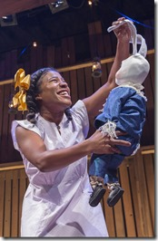"""Melanie Brezill stars in Chicago Children's Theatre's """"The Miraculous Journey of Edward Tulane,"""" adapted by Dwayne Hartford from book by Kate DiCamillo, and directed by Stuart Carden. (Photo credit: Charles Osgood)"""