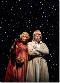 """Lisa Gaye Dixon and Larry Yando in Goodman Theatre's """"A Christmas Carol"""" by Charles Dickens, adapted by Tom Creamer, directed by Henry Wishcamper. (photo credit: Liz Lauren)"""