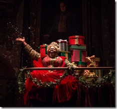 """Lisa Gaye Dixon as Ghost of Christmas Present in Goodman Theatre's """"A Christmas Carol"""" by Charles Dickens, adapted by Tom Creamer, directed by Henry Wishcamper. (photo credit: Liz Lauren)"""