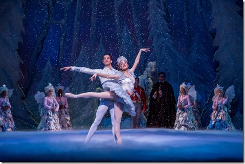 """Mahallia Ward and Dylan Gutierrez in Joffrey Ballet's """"The Nutcracker,"""" conceived and directed by Robert Joffrey. (photo credit: Cheryl Mann)"""