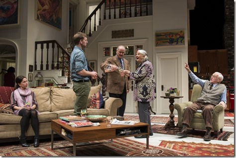 "Audrey Francis, Cliff Chamberlain, Francis Guinan, Lois Smith and John Mahoney in Steppenwolf Theatre's ""The Herd"" by Rory Kinnear, directed by Frank Galati."