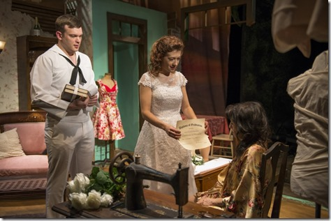 "Drew Schad, Daniela Colucci and Eileen Niccolai star in Shattered Globe's ""The Rose Tattoo"" by Tennessee Williams, directed by Greg Vinkler. (photo credit: Michael Brosilow)"