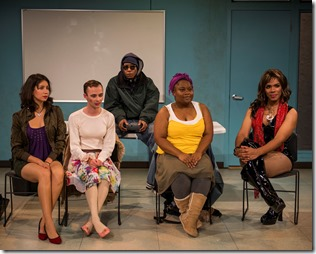 "Monica Orozco, Matthew Sherbach, Namir Smallwood, BrittneyLove Smith and Armand Fields star in Northlight Theatre's world premiere ""Charm"" by Philip Dawkins. (photo credit: Michael Brosilow)"