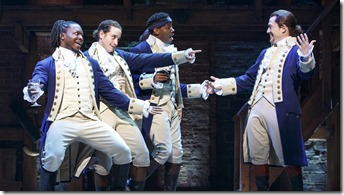 Chris De'Sean Lee, Jose Ramos, Wallace Smith and Miguel Cervantes star in Hamilton, Broadway in Chicago