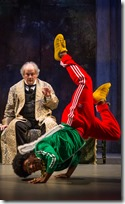 Francis Guinan and Travis Turner in Twist Your Dickens or Scrooge You, Second City Goodman Theatre