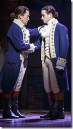 Miguel Cervantes and Jose Ramos star as Alexander and Philip Hamilton in Hamilton, Broadway Chicago