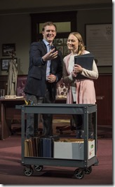 Cliff Chamberlain and Brittany Burch star as Mr. Peel and Ms. Johnson in The Minutes, Steppenwolf Theatre