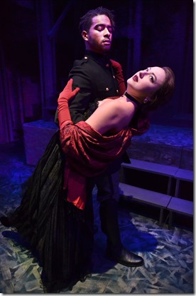 Eric Gerardas Vronsky and Ilse Zacharias as Anna Karenina in Anna Karenina, Lifeline Theatre, photo by Suzanne Plunkett