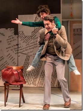 Jackson Evans as Alan Zweibel and Dana Tretta as Gilda Radner in Bunny, Bunny at Mercury Theatre