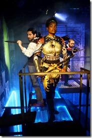 Jose Nateras as Richard Mayhew, Aneisa Hicks as Hunter, and Matthew Singletonas the Marquis de Carabas in Neverwhere
