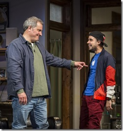 Keith Kupferer (Roger) and Tommy Rivera-Vega (Kevin) star in Support Group for Men, Goodman Theatre