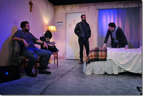 Guy Wicke, Joe Lino and Cody Lucas star as Shep, Lino and Luke in Tres Bandidos, Agency Theater Collective