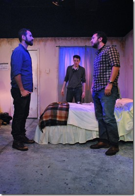 Joe Lino, Cody Lucas and Guy Wicke star as David, Luke and Shep in Tres Bandidos, Agency Theater Collective