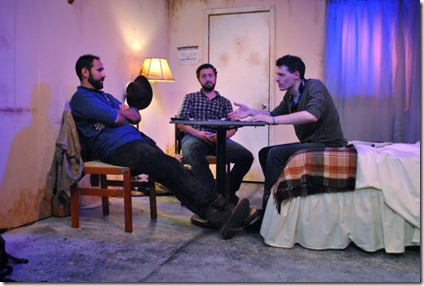 Joe Lino, Guy Wicke and Cody Lucas star as David, Shep and Luke in Tres Bandidos at Agency Theater Collective