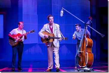 Matt Codina (Scotty Moore), Eddie Clendening (Elvis) and Zach  Lentino (Bill Black)