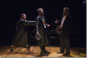 Christina Gorman, Drew Schad and Joseph Wiens star in Crime and Punishment, Shattered Globe Theatre