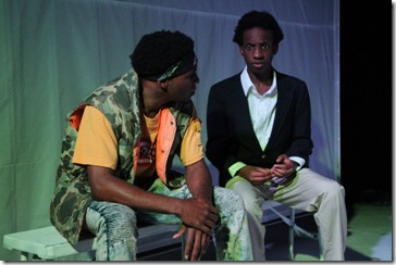 Jalen Gilbert and Jayson Lee star in Hooded or Being Black for Dummies at First Floor Theatre