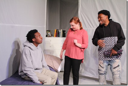 Jayson Lee, Lauren Pizzi Montgomery and Jalen Gilbert star in Hooded or Being Black for Dummies