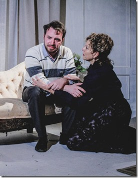 Devon Nimerfroh (Oswald Alving) and Jacqueline Grandt (Helen Alving) star in Ghosts at Redtwist Theatre
