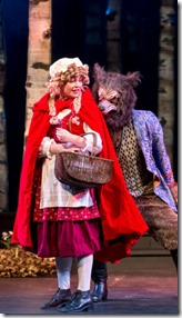 Cecilia Iole (Little Red Ridinghood) and Benjamin Sprunger (Wolf) star in Into the Woods, Music Theater Wor