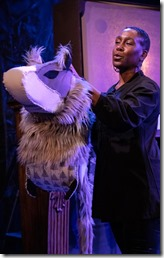 Shariba Rivers stars as the Winter Wolf in Otherworld Theatre's The Winter Wolf by Joseph Zettelmaier 1