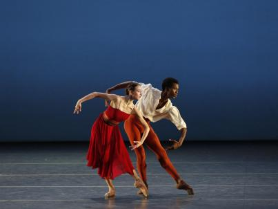 A view of two performers on stage at the American Ballet Theatre.