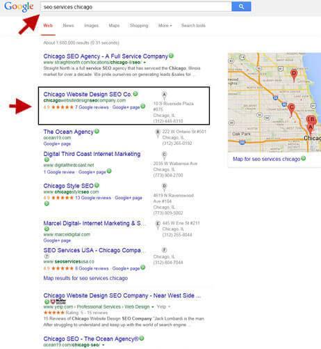 Chicago seo company on Google